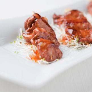 Spieße von der Tandooripute mit Sweet Chili Marinade